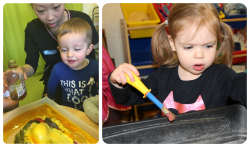 Children at Tiny Toes Hertford playing and learning