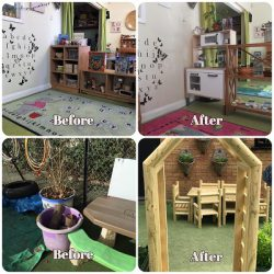 Image of Pre-school room and Garden before and after our move to the Curiosity Approach