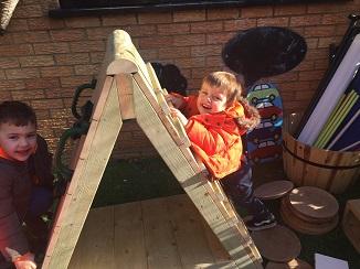 Climbing frame play at Tiny Toes Hertford
