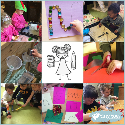 Collage image of fine motor early writing play at Tiny Toes Hertford